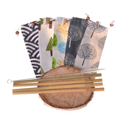 Bamboo straws ecotree (4 pcs) + bag