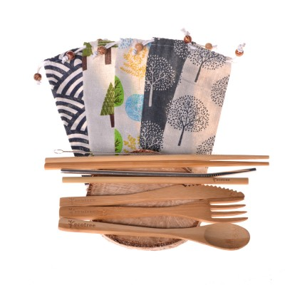 Bamboo cutlery ecotree (7 parts) + bag