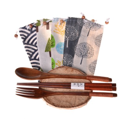 Bamboo cutlery ecotree (3 parts) + bag