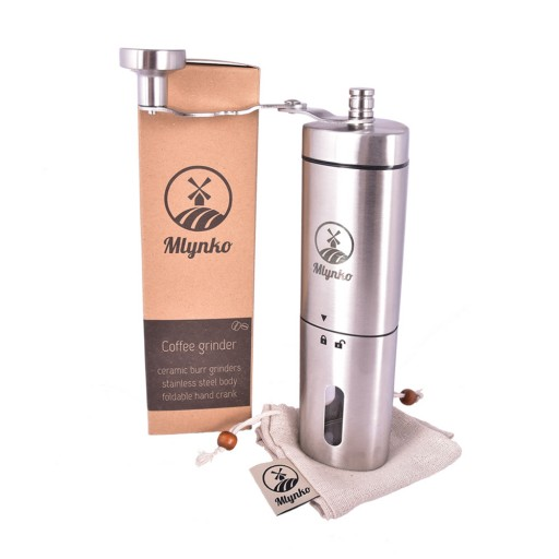 Reviews Coffee grinder Mlynko with ceramic grinding stones + cotton bag